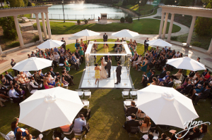 Beautiful Outdoor Wedding Ready for All Weather with Umbrellas | Legendary Events