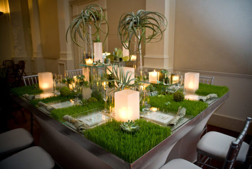 Elegant Table Decorated with Succulents and Grass | Legendary Events