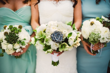 Bride and Bridesmaids with Succulent Bouquets | Legendary Events
