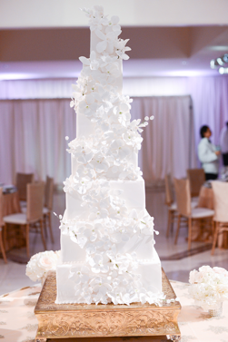 All White Wedding Cake with Flowers | Legendary Events